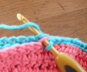 Joining by slip stitch