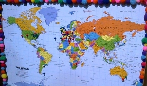 The map of 'where you've come from' - including Australia, Japan, South America, Africa, the Falklands!