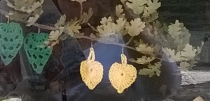 Crocheted Autumn Leaves in the window