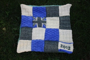 Woolsack cushions - spun from own hand-dyed yarn